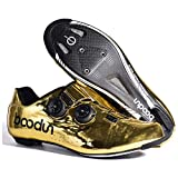 BOODUN Road Cycling Shoes Men Women,bicycle Lock Shoes,microfiber Double Knob Shoe Buckle,sole-carbon Fiber,Gold-42EU