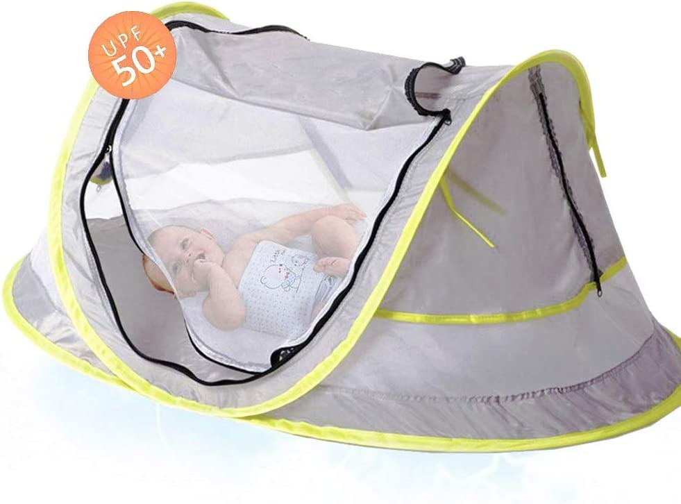Portable Baby Beach Tent Pop Up Bed Lightweight Travel Crib Bed Outdoor Backpacking Tent - UPF 50+ Anti-UV - Sun Shelter for Infant