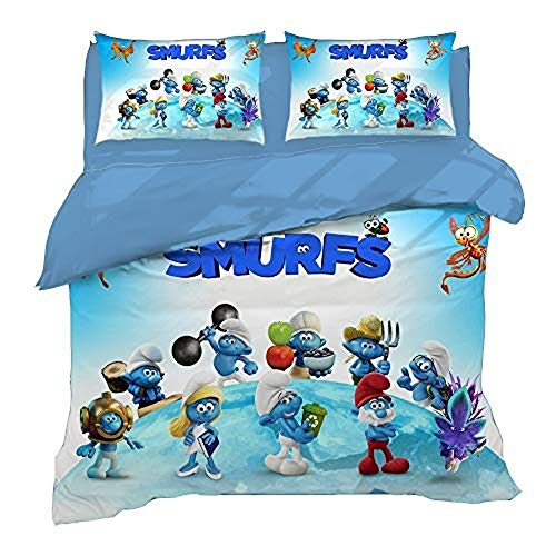 XWXBB Niciyo The Smurfs Pair Bedding Set 3 Pieces with 3D Duvet Cover ?3 Piece Bedding Set (Duvet Cover + 2 Pillow Cases), Thick and Soft (A02, Single 135 x 200 cm)