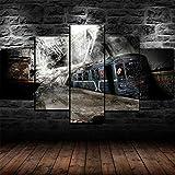 Cuadro En Lienzo 5 Pieza Pintura En Lienzo Abandoned Underground Railway Train Arte De La Pared 5 Piezas Imagen Impresión En Lienzo Imagen De Pared Decoración del Hogar 150X80Cm