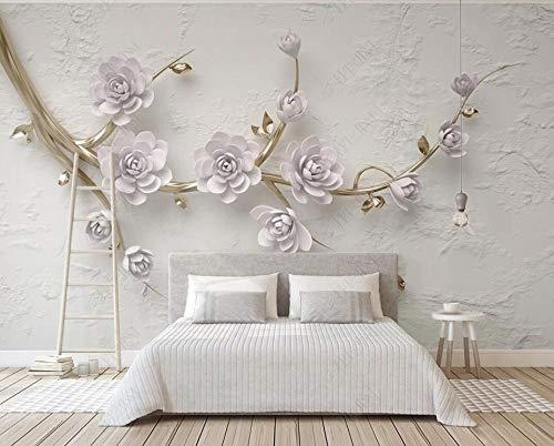 Decoración Mural De Papel Tapiz 3D Ramas De Flores De Lavanda En Relieve Papel Pintado Del Dormitorio Moderno Del Fondo De La Tv 3D
