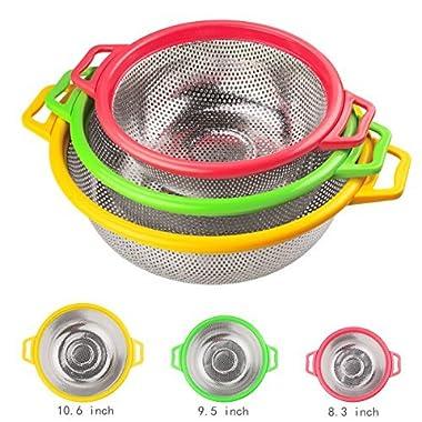 Kitchen Supply - 3 Piece Colander Set - Stainless Steel Mesh Strainer Net Baskets with Handles & Resting Base Drain, Rinse, Steam or Cook