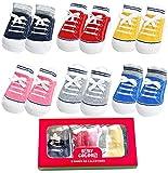 Baby Infant Anti Slip Non Skid Boys Newborn Sneaker Shoe Socks 6 Pairs (0-6 Months, Colorful 6 Pairs)