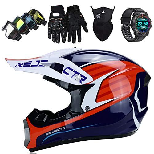 Motorbike Helmet Kids Full Face Motocross Helmets Set with Downhill Goggles Gloves Mask Sports Smart Watch Adult Motorcycle Helmets for MTB Quad Bike Dirt Bike BMX Off Road Safety Crash Helmet