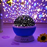 QUALITTO Bedside Lamp Sets 2 Lampshades Star Sky Night Lamp for Kids Night Light Moon Star Projector for Bedroom Birthday Gifts for 1-14 Year Old Girls Boys Unique Christmas Xmas Gifts for Children