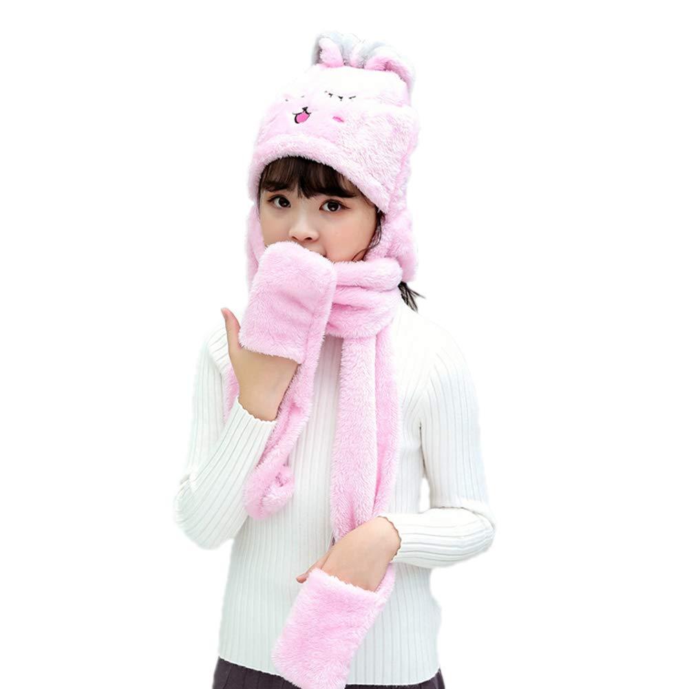 3 in 1 Kids Toddler Cartoon Fleece Hat Gloves Scarf Set Girls Boys Winter Cute Warm Long Hoodie Earflap Hat (F,5)