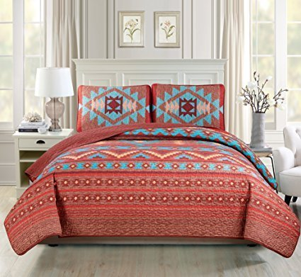 Western Southwestern Native American Tribal Navajo Design Multicolor TurquoiseRed Orange Brown Bedspread Quilt Set (King / Cal-King)