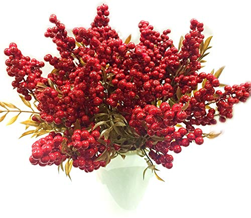 M2cbridge Artificial Red Rosehip Berries Christmas Holly Berries (Set of 4)