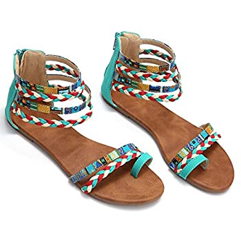 gracosy Flat Sandals for Women Wedges Sandals Gladiator Summer Dress Sandals Ankle Slippers Woven Straps Shoes Flip Flop Thong Blue 7 M US