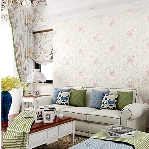 Hualq Selbstklebende Tapete, Pastoralstil, Präzisionsvlies, selbstklebend, geeignet für TV-Hintergrund, Wohnzimmer, Schlafzimmer, 0,53 x 5 m (5 Farben optional) – Weiß