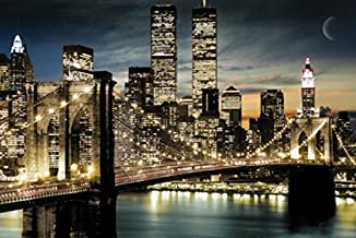 Manhattan Lights New York City Skyline 36x24 Art Poster Print Brooklyn Bridge World Trade Center Twin Towers