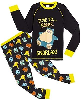 Pokèmon Pijama para Niños, Pijamas de Manga Larga De Pikachu con Camiseta Snorlax, Ropa de Dormir Niño, Pijama Infantil, Regalos Originales para Niños De 5-14 Años (13/14 años) de