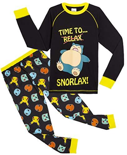 Pokèmon Pijama para Niños, Pijamas de Manga Larga De Pikachu con Camiseta Snorlax, Ropa de Dormir Niño, Pijama Infantil, Regalos Originales para Niños De 5-14 Años (13/14 años)