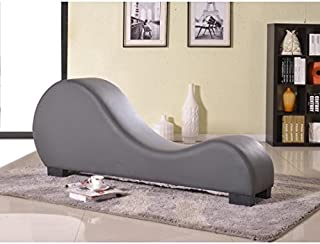 Modern Faux Leather Yoga Stretch Relaxation Chaise Lounge with Three-inch PVC Padding, Solid Wood Frame, Black Plastic Legs, Foam Filled Upholstery, Grey + Expert Home Guide by Love US