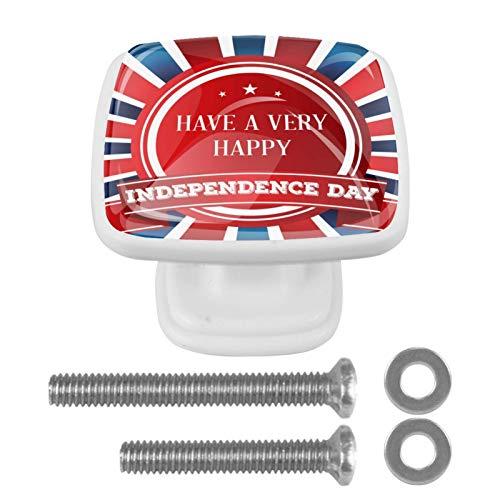 4 pomos para armarios de cocina de 3,8 cm con tornillos para cocina, aparador, armario, baño, armario, Día de la Independencia Americanhappy