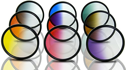 Opteka 58mm HD Multicoated Graduated Color Filter Kit for Digital SLR Cameras Includes: Red, Orange, Blue, Yellow, Green, Brown, Purple, Pink and Gray ND Filters