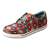 Twisted X Women's Hooey Lopers - Handcrafted Hooey Loper Lace Up Casual Shoes with Stylish Aztec Print - 7 M