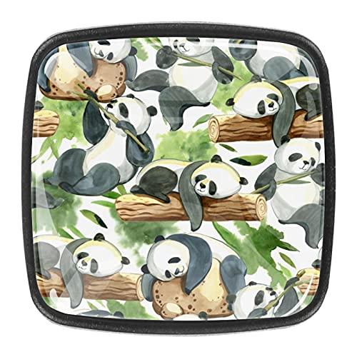 Panda Green - Pomos de hardware para armarios de cocina y armarios, perillas de cristal con tornillos en casa y oficina, paquete de 4
