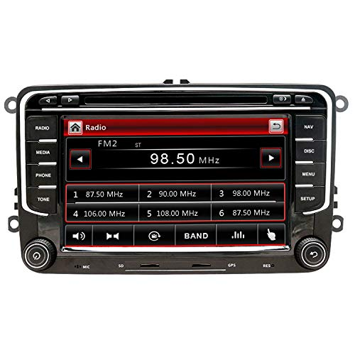 NVGOTEV Autoradio navigatore GPS compatibile per VW golf, 17,8 cm double DIN Head Unit 2 DIN autoradio con lettore CD DVD supporto GPS, USB, SD, FM AM RDS, Bluetooth (7 pollici)
