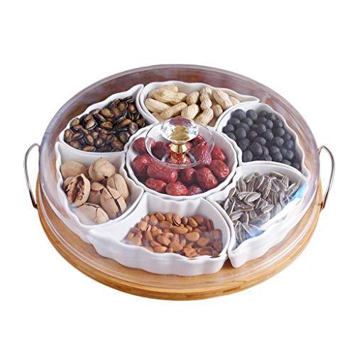 JUNYYANG Blanco Puro de cerámica Plato de Frutas, Fruta Seca Compartimiento con Tapa, Mesa Creativo Snack-Placa de Tuerca Caja de Madera de bambú Bandeja