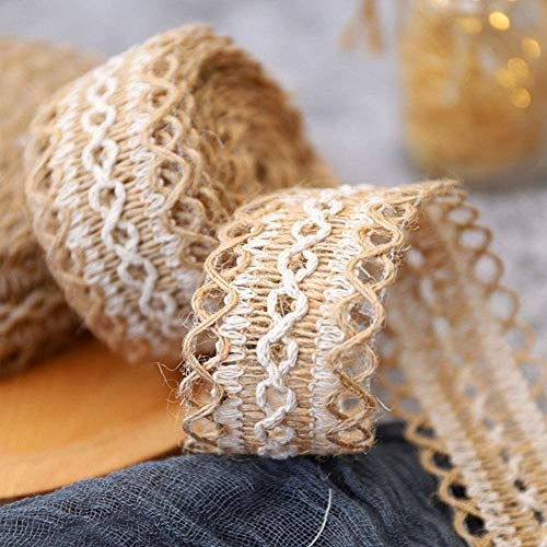 ToBeIT Natural Burlap Lace Ribbon Roll with Trims, Burlap Lace Ribbon for Wedding Decoration and DIY Craft Home Party Decoration (15meter)