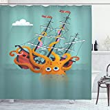 Ambesonne Kraken Shower Curtain, Giant Squid Sinking a Pirate Boat into Ocean Anchor Ship Humor Design, Cloth Fabric Bathroom Decor Set with Hooks, 75' Long, Orange Teal
