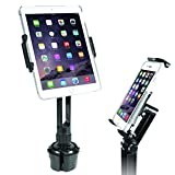 "Macally Heavy Duty Tablet Holder for Car - Works as Cup Holder Tablet Mount or Phone Cup Holder - Fits Devices 3.5' - 8"" Wide with Case - Adjustable iPad Car Mount with 360° Rotatable Cradle"