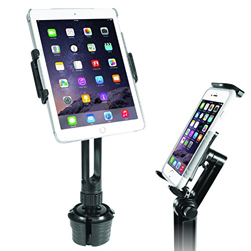 """Macally Heavy Duty Tablet Holder for Car - Works as Cup Holder Tablet Mount or Phone Cup Holder - Fits Devices 3.5"""" - 8"""" Wide with Case - Adjustable iPad Car Mount with 360° Rotatable Cradle"""