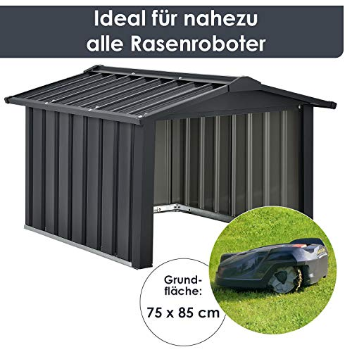 Juskys Metall Mähroboter Garage mit Satteldach - 4