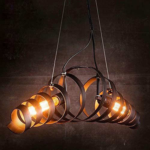 Lámpara colgante industrial en espiral,forma de resorte de hierro forjado,lámpara colgante de luz,comedor,restaurantes,lámpara de suspensión con forma de crisálida de gusano de seda con base 2xE27