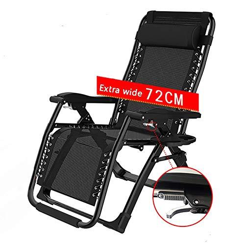 ZCJB Schwerelosigkeits-Stuhl - Bequeme Schlafsessel-Stühle, Die Schlafzimmer-Lesefreizeit- / Aufenthaltsraum-Stuhl, Schwarzes, Unterstützung 200kg Falten