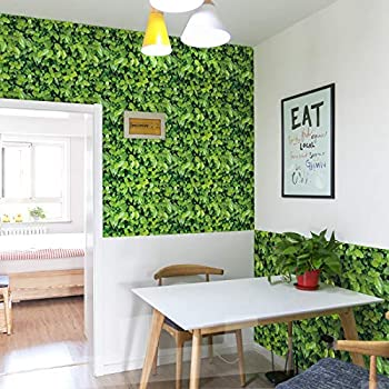 Amazon Com Nature Green Leaf Wallpaper Peel And Stick Pvc Removable Grassland Lawn Wall Sticker Turf Decor 32 8 Ft X 17 9 Inch Arts Crafts Sewing