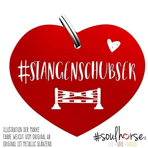 Soulhorse Stangenschubser rot Kleiner Glücksbringer Marke Anhänger für Pferdezubehör Halfter Trense Zaumzeug Sattel Vorderzeug