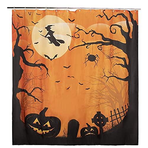 Juvale Halloween Duschvorhang - Badezimmer Dusche Dekoration, Duschvorhang mit 12 Kunststoffhaken, Design inkl. Hexe, Bäume, Fledermäuse, Kürbisse, 183 x 183 cm