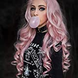 Pink Lace Front Wigs for Women Long Wavy Heat Resistant Replacement Wig for Drag Queen Cosplay Daily Synthetic Wig 24 Inches