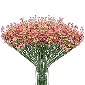 Momkids 12 Pcs Babys Breath Artificial Flower Fake Gypsophila Real Bouquet Touch Flowers for Home Garden Wedding Party DIY Decor(Pink,21 Inch)