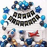 BAIBEI Globos Espacio Exterior Set, Astronaut Foil Balloon Espacial Cohete Globo, Globos para Fiesta de Cumpleaños, Suministros para Fiesta Espacial