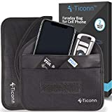 TICONN Faraday Bag for Cell Phone (2 Pack), GPS RFID Signal Blocking Bag, Shielding Pouch Wallet Phone Case (Black)
