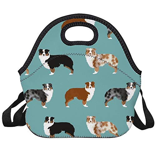 LELEMATE Neoprene Australian Shepherds Dogs Lunch Bag Insulated Lunch Backpack Lunchbox Handbag with Adjustable Shoulder Strap Best Gift for Men Women Teen Boys Girls