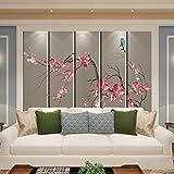 Fototapete Tapete 3D Maßgeschneiderte Schrankbett Kopfteil Einfache Paket Europäischen Stil Wohnzimmer Schlafzimmer Sofa Tv Chinesischen Stil Blume Und Vogel Pattern-250Cmx175Cm