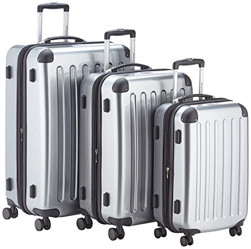 HAUPTSTADTKOFFER - Alex - 4 Doppel-Rollen 3er Trolley-Set Rollkoffer Reisekoffer, (S, M und L) Koffer-Set, 75 cm, 235 L, Silber