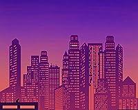 数字で描くDIY大きなサイズの 都市の建物建築夜のベクトルアクリルの家の装飾アート画像ギフト数字で描くアクリル絵の具色原稿 カスタマイズ可能 50x65cmフレームなし