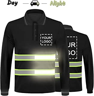 Hi Vis Safety T-Shirt with Reflective strip Customize Your Logo High Visibility Long Sleeve Fast Dry Breathable Polo Tee (Large, Black - Style 2)