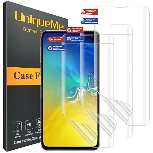 UniqueMe [3 Pack] Protector de Pantalla para Samsung Galaxy S10e, HD Clear [ Anti-Burbuja ] Case Friendly Película Flexible de TPU de Cobertura Completa con garantía de reemplazo de por Vida