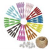 Qremenn Paquete de 100 Clips de Madera Coloridos para decoración estética de Habitaciones, Productos de decoración de Interiores, con Cuerda de cáñamo de 30 m y 20 Clavos sin Rastro