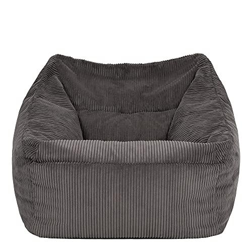 """icon Übergroßer Sitzsack-Sessel """"Morgan"""", Cord, Sitzsäcke für das Wohnzimmer, Schlafzimmer, Sitzsäcke für Erwachsene (Anthrazitgrau)"""