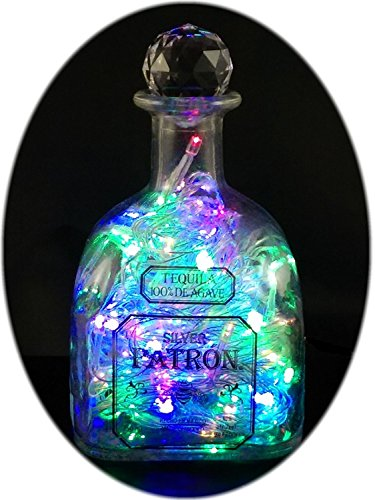 The Bottle Upcycler Upcycled Patron Tequila Mood Therapy Liquor Bottle Light with Multi-color Leds Topped with an Asfour 30% Leaded Clear Crystal Prism Ball