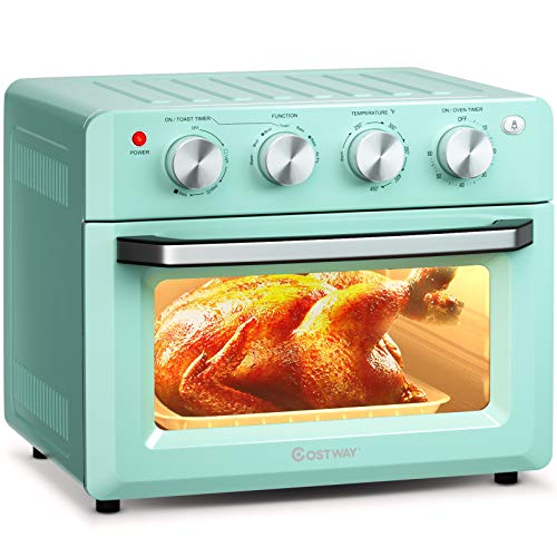 COSTWAY Toaster Oven Countertop, 7-in-1 Convection Oven with Air Fry, Bake, Broil, Toast, Dehydrate, Pizza, Warm Function, 1550W Air Fryer Toaster Oven with Timer, Temperature Control, 5 Accessories