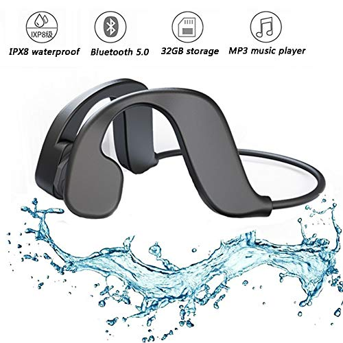 RSGK Cuffie Musicali MP3 per Il Nuoto, Memoria Integrata da 32 GB, Conduzione Ossea Impermeabile IPX8 Cuffie Bluetooth Indossabili per Sport Cuffie per Lettori MP3
