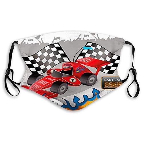 Comfortabele winddichte auto's glas race auto met Finish Line vlaggen piloot en vlammen met abstracte grijze achtergrond PrintMulticolorPrinted Facial decoraties voor volwassenen Grootte: M